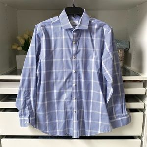 Large Check Long Sleeve Blue Button Up Shirt